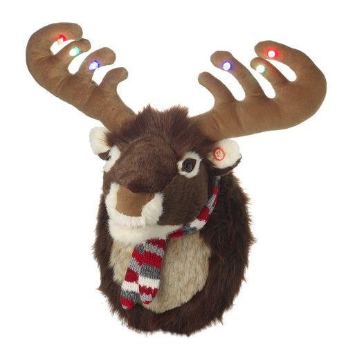 Large Plush Christmas Moose / Reindeer wall display with Lights and Music-The Useful Shop