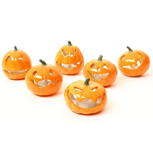 Ceramic Pumpkin With Battery Tealight-The Useful Shop