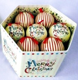 Luxury Merry Christmas Candy Stripe 12 Classic Baubles Box set-The Useful Shop