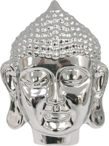 Silver Finish Thai Buddha Head Wall Sculpture for Indoors or Garden Use