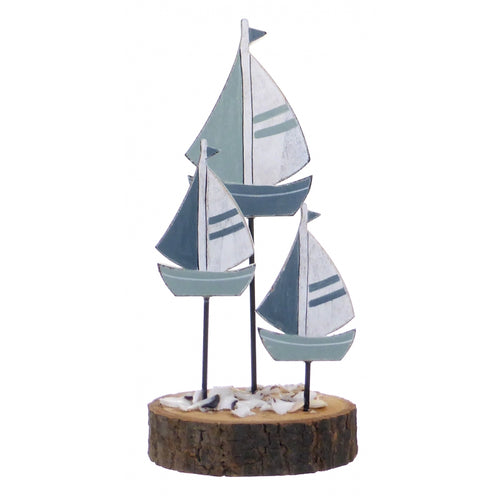 Triple Wooden Sailing Boats Display Ornament and Photo Holder