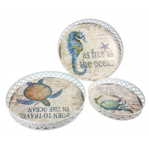 Set of 3 Nautical Trays Round Metal Vintage Sealife Style