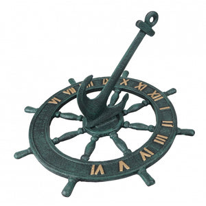 Metal Verdigris Finish Nautical Sun Dial with Anchor