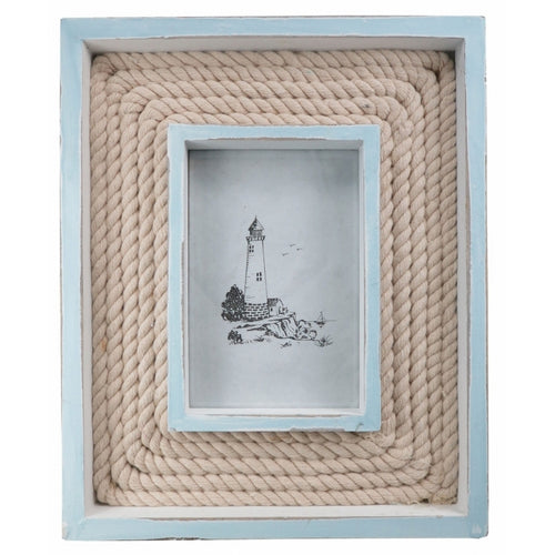 Pale Blue Wood & Rope Beach Hut Chic Large Feature Photo Frame