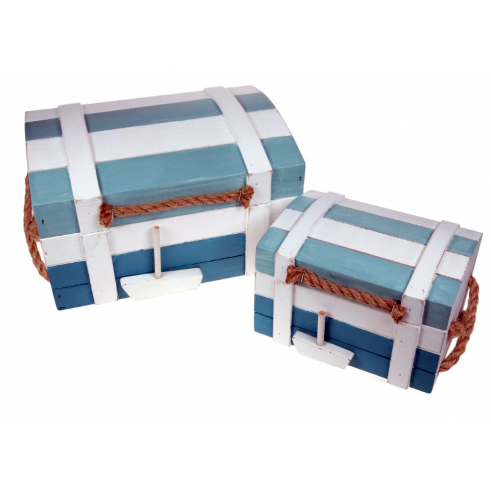 Set of 2 Wooden Chest Style Nautical Storage Boxes