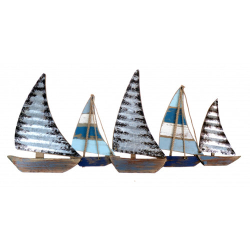 Metal Sailing Boat Decorative Wall Art Sculpture