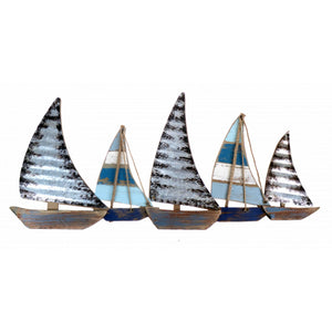 Metal Sailing Boats Decorative Wall Art Sculpture