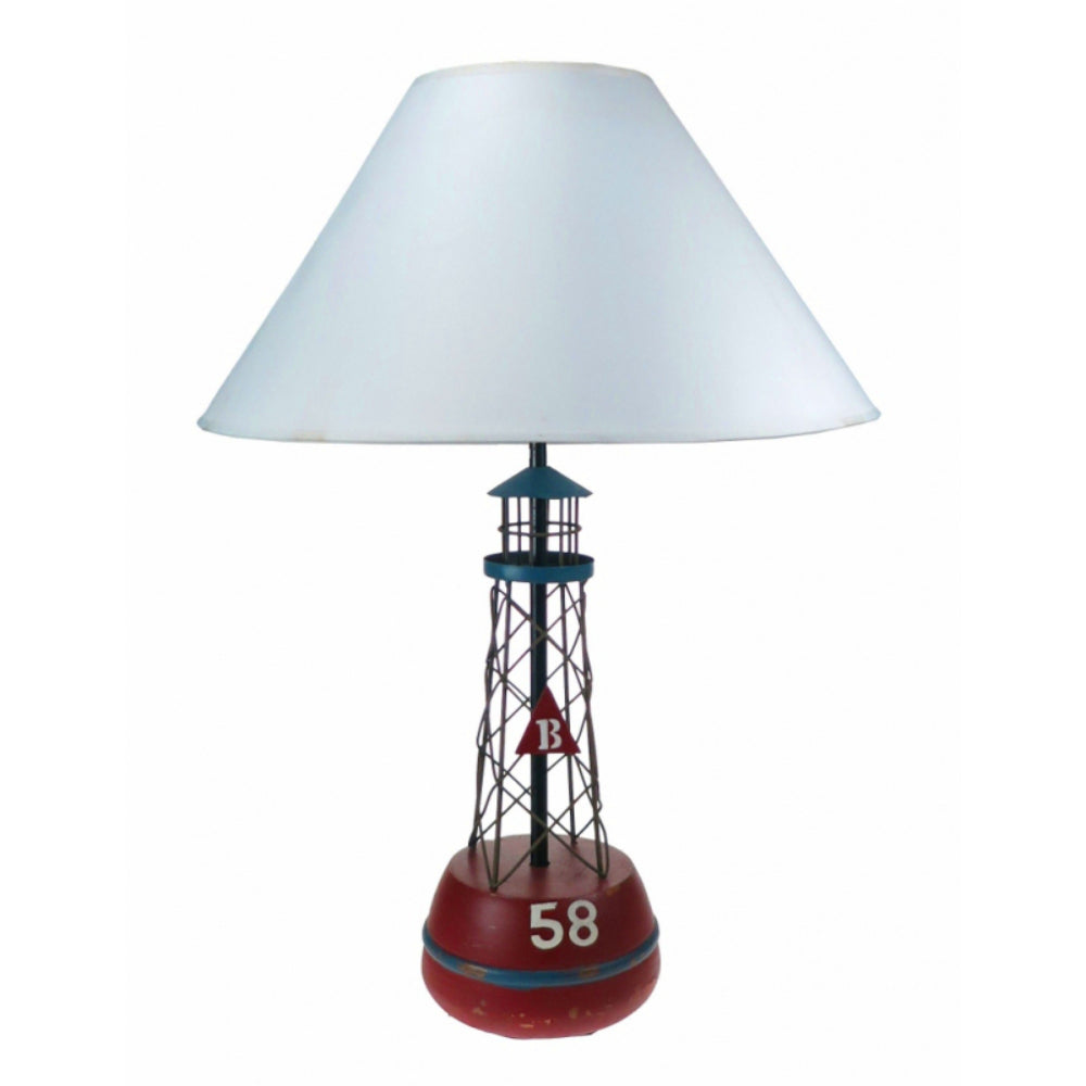 Wood and Metal Lighthouse Float Style Lamp Base with Shade