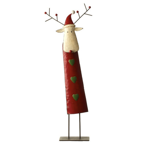 Large Metal Red Reindeer with Hat Christmas Decoration-The Useful Shop