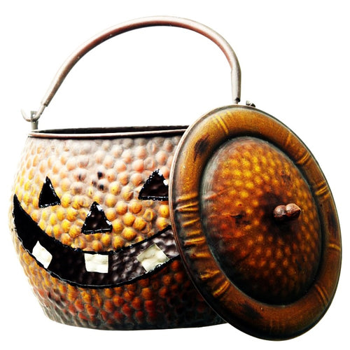 Very Large Metal Pumpkin Cauldron Halloween Decoration-The Useful Shop