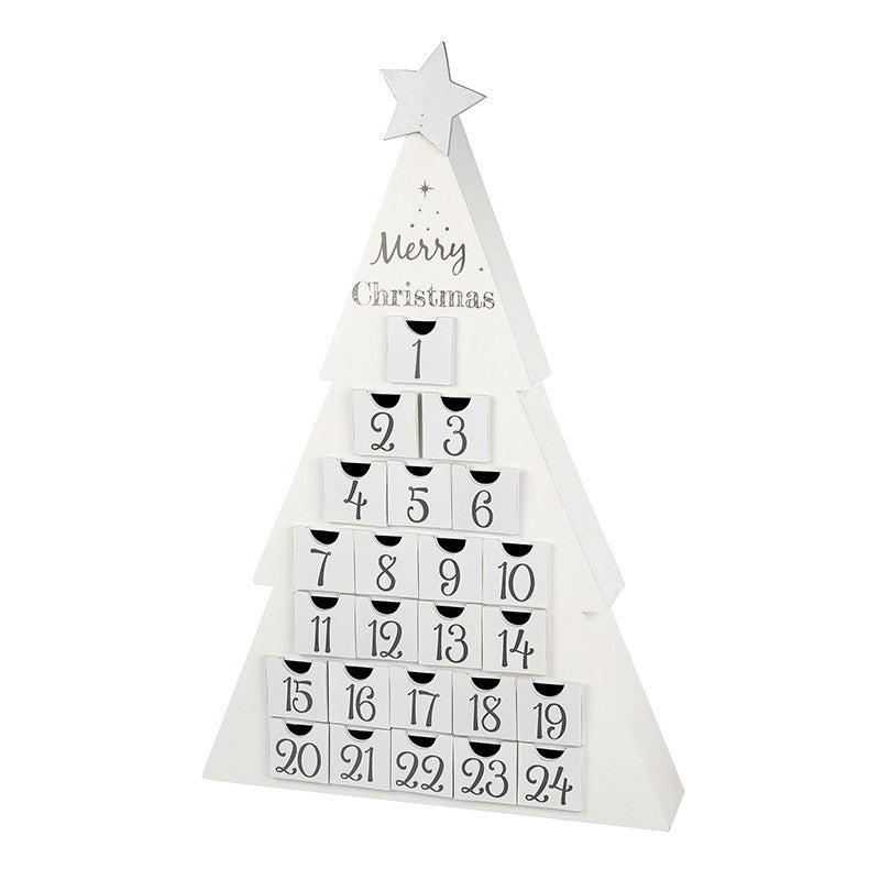 Very Large White Christmas Tree Wooden Advent Calendar with Star by Heaven Sends-The Useful Shop