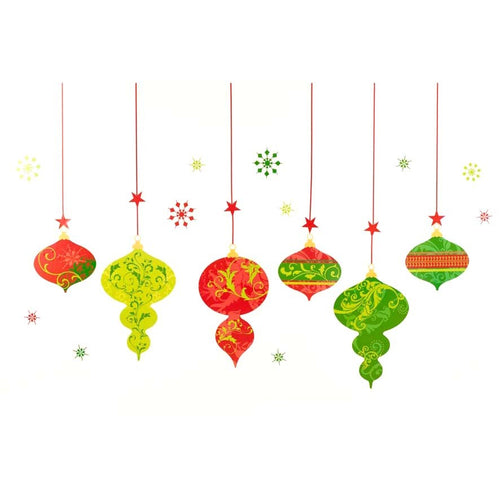 Large Christmas Decorative Wall Frieze Sticker Set - Red Green and Gold Baubles