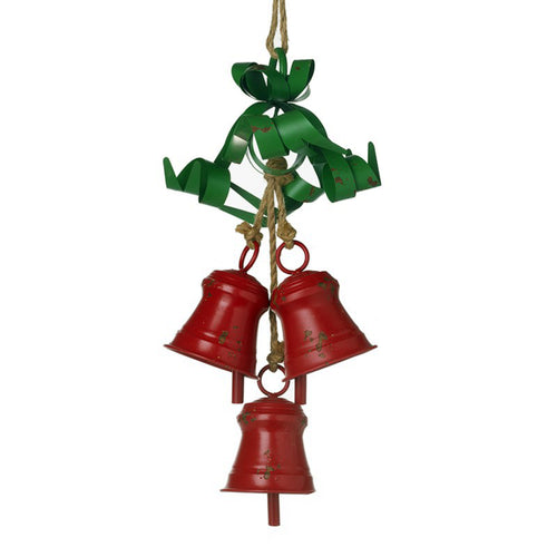 3 Red Metal Bells with Green Metal Ribbon and Natural Rope Large Christmas Decoration for Inside or Outside Use