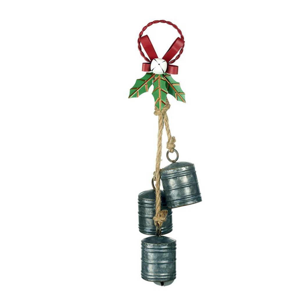 Large Rustic Silver Metal Triple Bell Christmas Decoration on Rope with Metal Ribbons