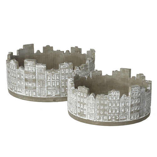 Buildings Silhouette Detailed Concrete Circular Planters Set by Heaven Sends