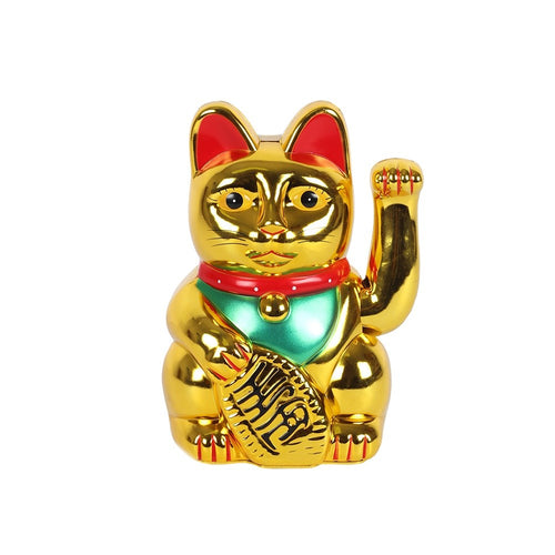 Medium Gold Waving Paw Lucky Maneki Neko Fortune Cat - 5 Inch 25cm