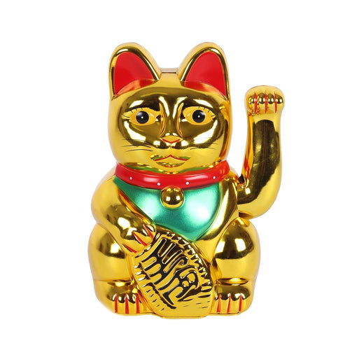 Large Gold Waving Paw Lucky Maneki Neko Fortune Cat - 8 Inch 20cm