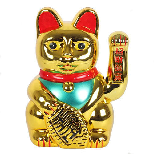 Giant Gold Waving Paw Lucky Maneki Neko Fortune Cat 35.5cm