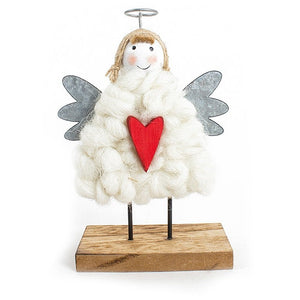 Wood and Wool Cute Angel With Heart Christmas Standing Decoration