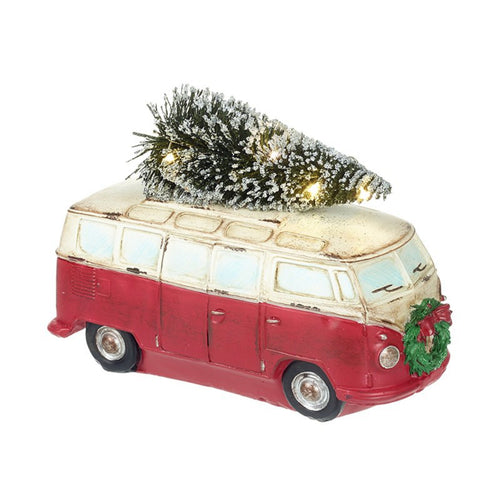 Vintage Campervan Christmas Display Ornament with LED Tree