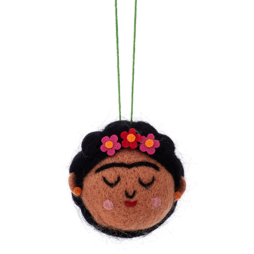 Frida Kahlo Felted Alternative Christmas Bauble Decoration