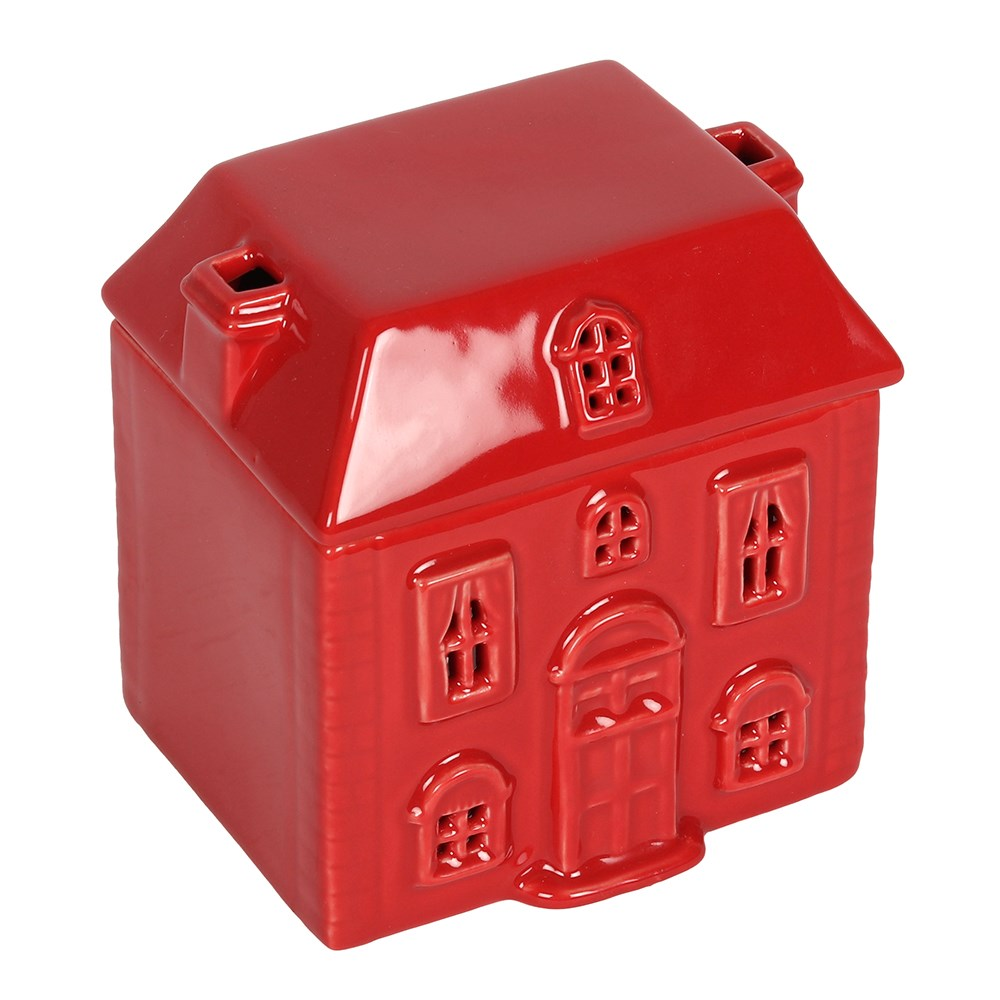 Cute Red Christmas Georgian House Ceramic Oil Burner with Chimneys