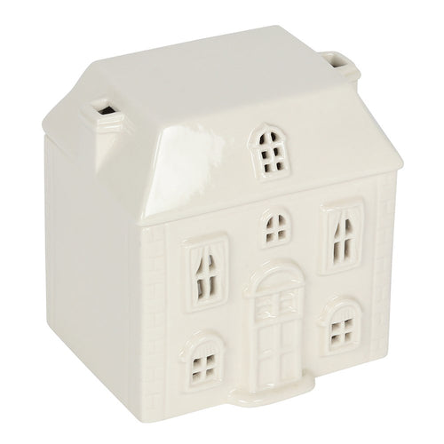 Cute White Christmas House Ceramic Oil Burner with Chimneys
