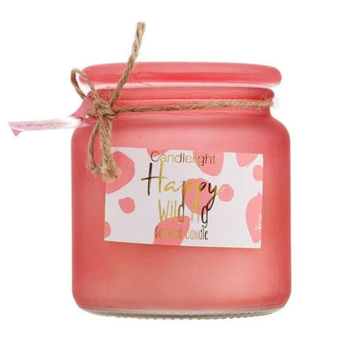 Large Frosted Happy Wild Fig Pink Jar Candle by Candlelight
