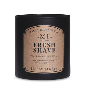 Manly Indulgence Fresh Shave Large 16.5oz Jar Luxury Candle by Colonial Candle