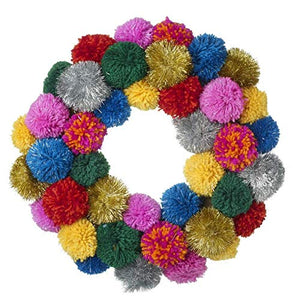 Bright and Metallic Pom Pom Decoration Wreath by Heaven Sends