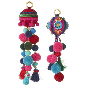 Set of 2 Large Boho Pom Pom Christmas Hanging Decorations by Heaven Sends