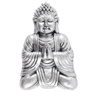 Small Silver Finish Thai Buddha Wall Sculpture for Indoors or Garden Use 27cm