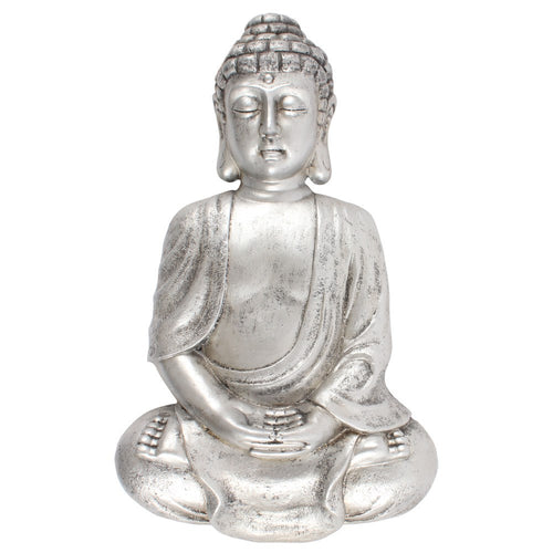 Medium Silver Finish Thai Buddha Wall Sculpture for Indoors or Garden Use 42cm