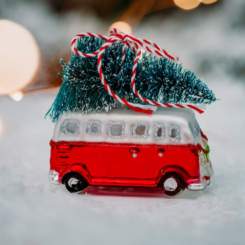 Coming Home for Xmas Red Camper Van Christmas Tree Bauble Ornament by Sass & Belle