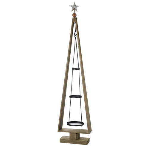Wooden Christmas Tree Display With Hanging Triple Tier Metal Mobile 120cm