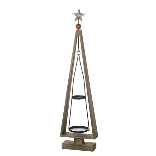Wooden Christmas Tree Display With Hanging Two Tier Metal Mobile 87cm