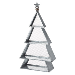 Metal Tiered Silver Display Tree Shelving Christmas Display Unit