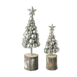 Silver Metal and Wood Christmas Jingle Bell Trees Set of 2