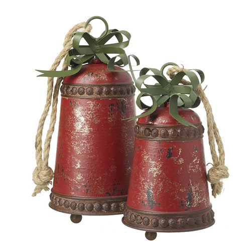 Set of 2 Large Metal Hanging Rustic Vintage Christmas Decoration Bells