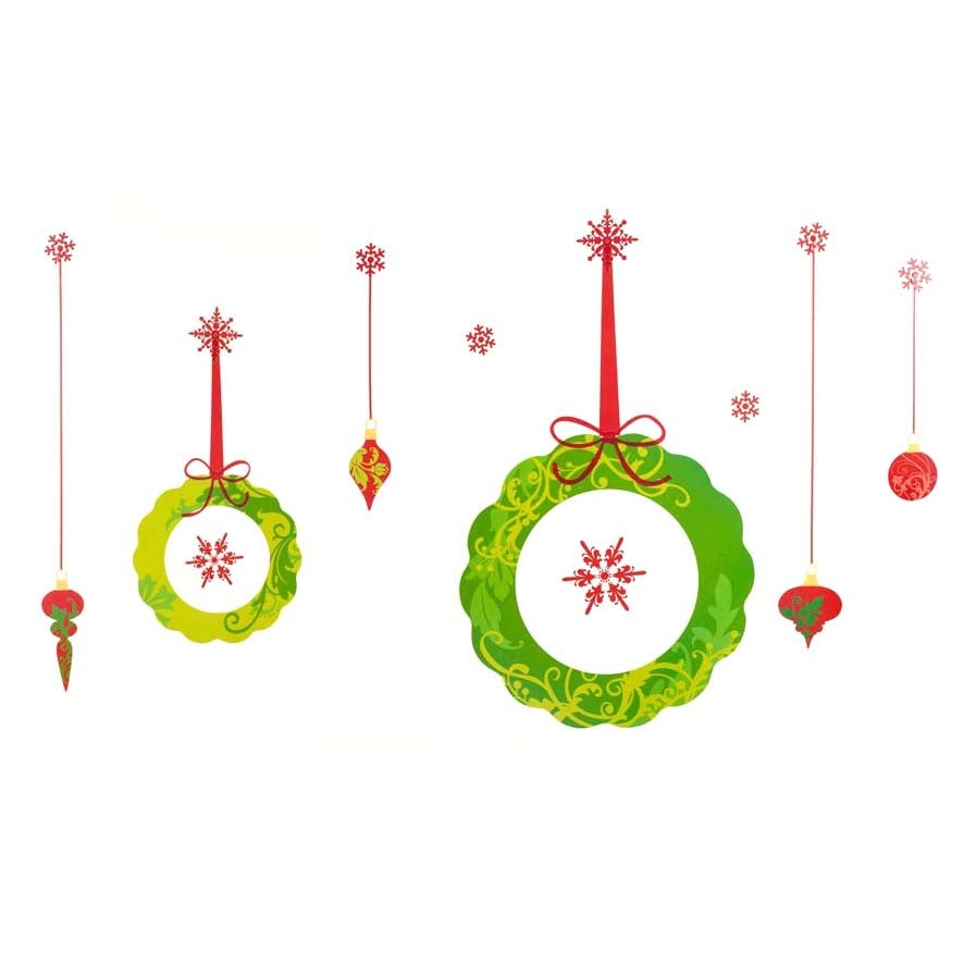 Large Christmas Decorative Wall Frieze Sticker Set - Wreaths and Baubles