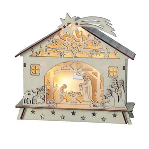 Small Natural Wooden Cut Out Christmas Nativity Stable Scene With Led Lighting
