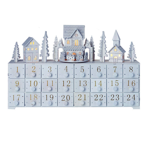 White Wooden Advent Calendar With Moving Train And LED Lights