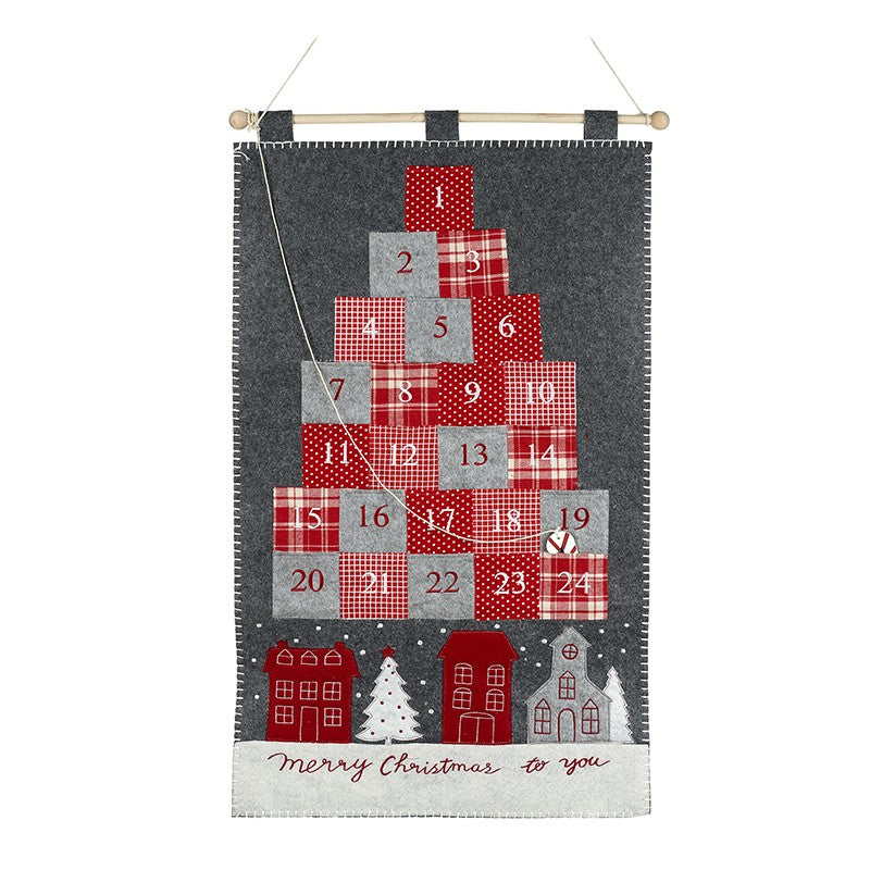 Merry Christmas To You Nordic Felt Fabric Wall Hanging Advent Calendar