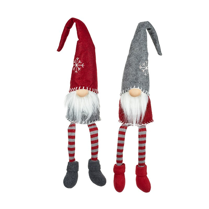Pair of Shelf Sitting Nordic Christmas Gnomes Red, Grey and White