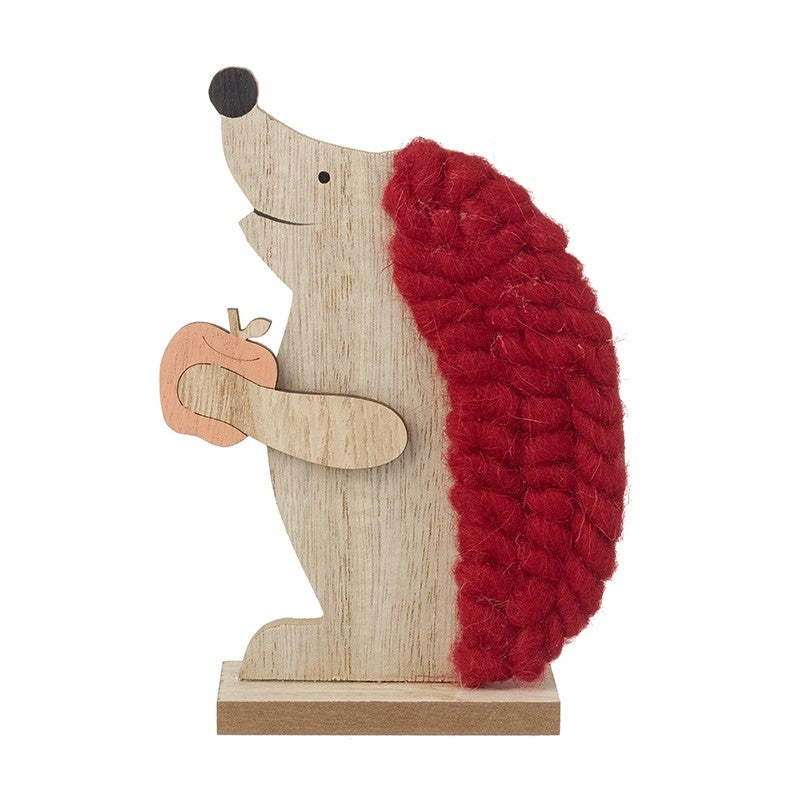 Wooden Hedgehog Standing Christmas Decoration with Red Wool Detail and Apple