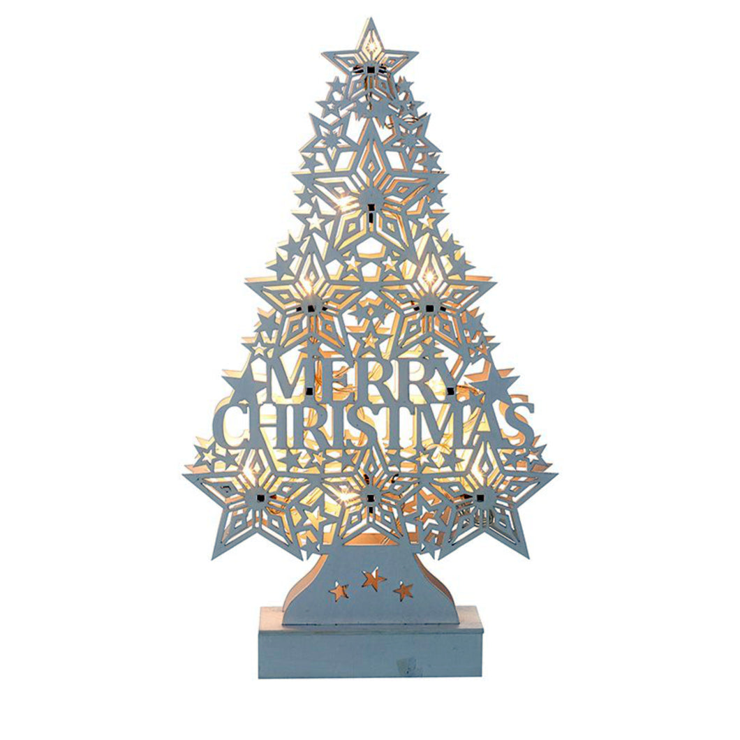 White Wooden Cut Out Style Christmas Tree Ornament with LED Lighting Battery Operated