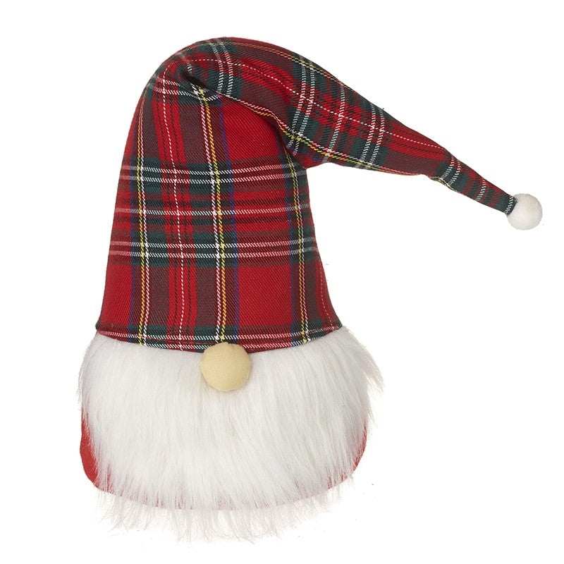 Cute Santa Gnome with Tartan Hat Christmas Doorstop