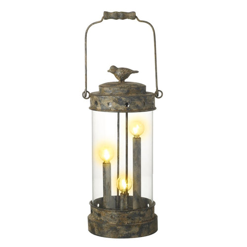 Unusual Vintage Aged Metal LED Bird Lantern Lamp & Top Handle-The Useful Shop