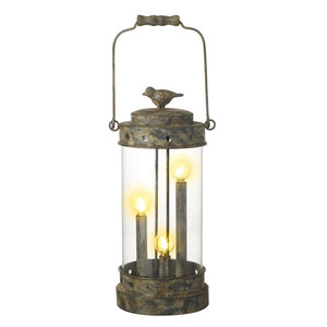 Unusual Vintage Aged Metal LED Bird Lantern Lamp & Top Handle