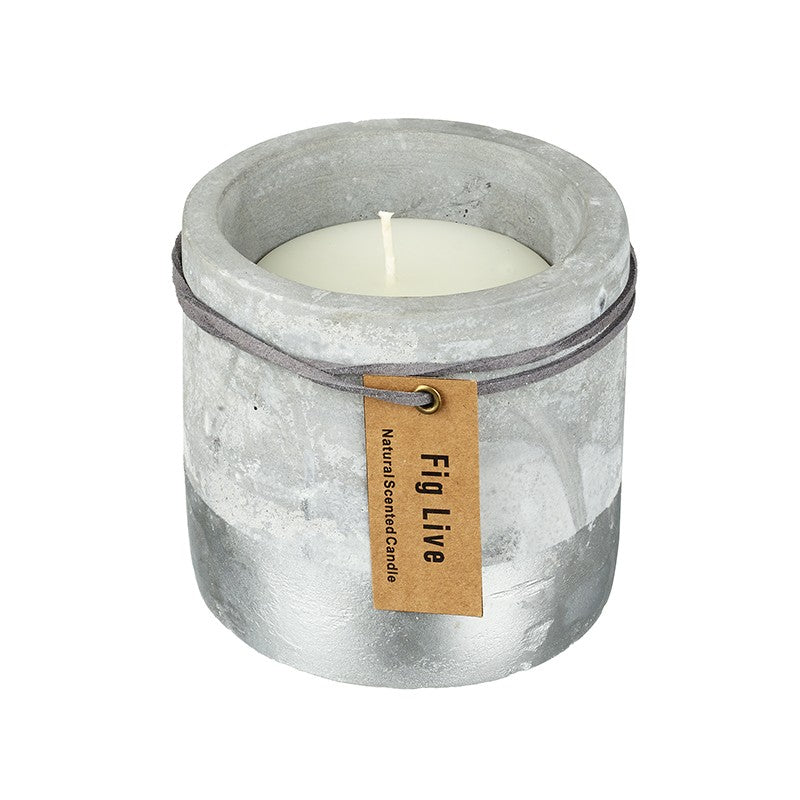 Large Concrete and Silver Dipped Candle - Rich Fig and Olive-The Useful Shop